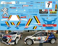 PEUGEOT 208 R5 ABBRING RALLY YPRES 2017  DECALS 1/43