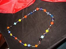 Old vintage marble size multicolored millefiori glass bead / chain link necklace