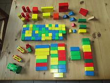 124 Holzbausteine/Holzbauklötze + 4 Holzfahrzeuge farbig  Gebrauchtware
