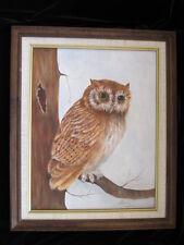 Authentic vtg OWL OIL PAINTING FRAMED fine art BIRD PORTRAIT TREE signed c. 70's
