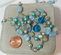 Vintage Lariat Wired Bead Strand Blue Glass F Pearls Knot Tassel Necklace 8g 54