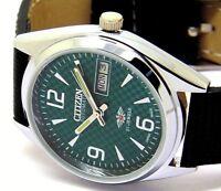 citizen automatic men,s steel  green dial japan made  wrist watch run orderr