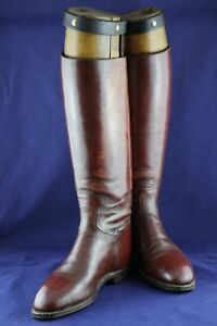 PAIR OF ANTIQUE LEATHER RIDING BOOTS WITH OAK BOOT TREES OX BLOOD RED OR BROWN