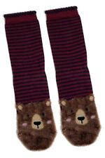 LADIES FLUFFY BROWN BEAR RED STRIPED SOCKS UK 4-8 EUR 37-42 USA 6-10