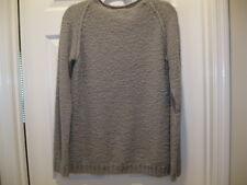L Pure Cashmere 100% Cashmere Nubby Gray Boat Neck Sweater Sz L