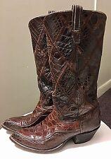 Vintage Mid Century Tony Lama Alligator Skin Cowboy Boots Unisex Brown W - 81/2