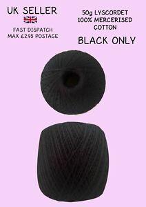 Twilleys Lyscordet 50g Mercerised Crochet Cotton *NEW* BLACK ONLY