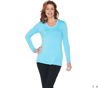 H by Halston Essentials V-Neck Long Sleeve Knit Top Color Surf Blue Size Small