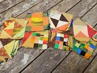 62+vintage+quilt+squares+blocks+earth+tones+all+hand+pieced