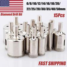 15Pcs Diamond Hole Saw Drill Bit Set Glass Ceramic Tile Cutting Tool Kit 6-50mm