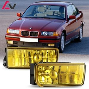 For BMW E36 92-98 Yellow Lens Pair Bumper Fog Light Lamp OE Replacement DOT Bulb