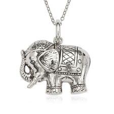 Sterling Silver Fancy Oxidized Elephant Pendant