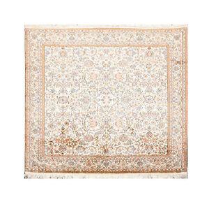 5'4'' x 5' GOI Certified Handmade Kashmir Pure Silk Area Rug Kashaan 400 KPSI