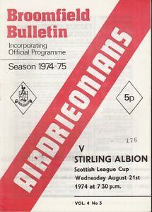 Airdrie Home Programmes From 1970 - 1990