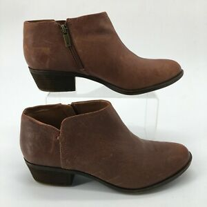 Lucky Brand Womens 9M Bardon 2 Side Zip Ankle Booties Low Heel Brown Leather