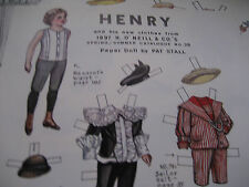 Vtg. Pat Stall Henry Paper Doll Uncut 1897c Boy from H.O'Neill Catalogue