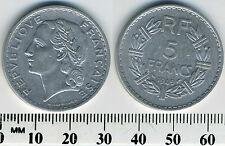 France 1949  - 5 Francs Aluminum Coin - Laureate head left