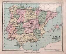 Carta geografica antica SPAGNA Spain PORTOGALLO Portugal Hughes 1878 Old map