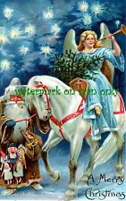 Vintg Art~Sidesaddle Angel~White Horse~Brown Robe Santa NEW Christmas Note Cards