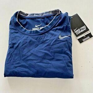 Nike Pro Combat Mens SS Compression Base Layer T-Shirt Navy Blue Dri-Fit XL New