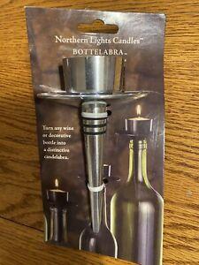 Bottelabra Wine Bottle Taper Candle Holder Black Finish Northern Lights Candles