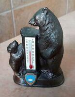 "Butte Montana Bear Thermometer Souvenir Vintage Metal 3-1/2"" Tall"