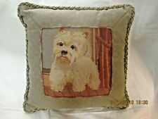 Needlepoint Pillow Handmade Maltese Puppy 14 inches square