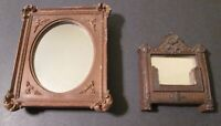 "Two (2) Antique MINIATURE VICTORIAN MIRRORS 5 3/4"" & 4 1/4"" ~ Detailed & Lovely"
