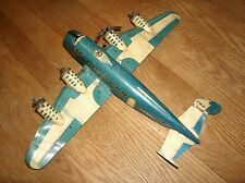 Vintage Tin Marx TWA US Mail Passenger Airplane Blue White Wind Up Parts Repair