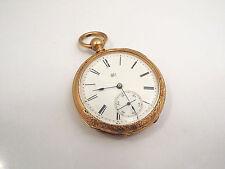 Antique Elgin 14K Gold Filled Open Face Wind Pocket Watch, Dexter St. Movement