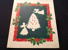 #942🌟Vintage 50s Christmas Card Embossed Angels Silhouette Light Tree Candles