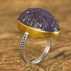 Ring size 8.5 Gold Vermeil Sterling Carved Purple Chalcedony Lotus Flower 9.38 g