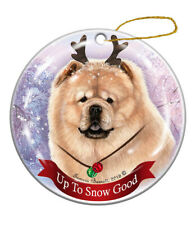 Holiday Pet Gifts Chow Chow Cream Dog Porcelain Christmas Ornament