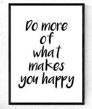 Inspirational Motivational Quote Poster A4 Print happiness quote - gift