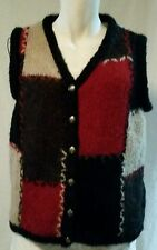 CHRISTOPHER & BANKS Black/Beige/Maroon Sweater Vest Acrylic Mohair Size L