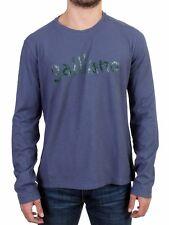 NEW $300 GALLIANO Sweater Blue Motive Print Long Sleeve Crew-neck T-shirt s. L
