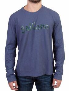 NEW GALLIANO Sweater Blue Motive Print Long Sleeve Crew-neck T-shirt s. L