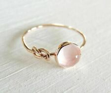 Women  Beautiful 18K Rose Gold Filled Pink Moonstone Ring Engagement Jewelry