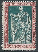 1928 REGNO FILIBERTO VITTORIA 25 CENT D. 13 3/4 MNH ** - Y220