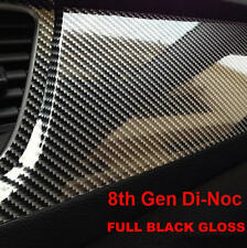 Carbon Fibre Vinyl Wrap Air Bubble Free Black Gloss Multi sizes 8th Gen Di-Noc