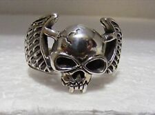 STERLING SILVER SKULL WITH WINGS RING SIZE 15 REDUCED