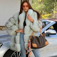Top Women Real Full Pelt Natural Fox Fur Coat Jacket Stand Collar Thick Overcoat