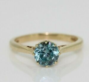 9ct Yellow Gold 1.00ct Blue Zircon Solitaire Ring (Size O, US 7)