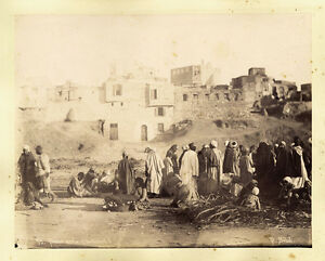 Sebah Zangaki Lot two original photos Egypt Bazar Arab and mill ? 1870c XL172