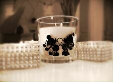 Minnie & Mickey Mouse Candle With re-usable Glass Holder Birthday Wedding