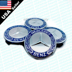 4PC SET WHEEL CENTER CAPS EMBLEM BLUE 75MM FOR MERCEDES BENZ AMG CC04