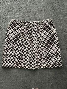 New Look short skirt, size 10, geometric pattern, blue orange & white, worn once