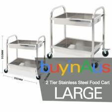 SOGA Stainless Steel Kitchen Trolley Cart 2 Tiers Dining Food Utility Large