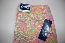 NWT CHAPS Size 2 Women's Flat Front Multi-Color Paisley Print SLIMMING FIT Jeans