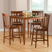 MainstaysDining Set 5 Table Counter Height Chairs Kitchen Room Furniture Cherry
